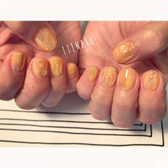 フルーツゼリーみたいなぷるぷる感✨⚪️✨⚪️◻️✨ #nail#art#nailart#ネイル#ネイルアート#yellow#jelly#シロップネイル#clear#summer#aurora#水滴ネイル#透明感#透け感#ショートネイル#ネイルサロン#nailsalon#表参道#yellow111#nuance111#summer111#シロップ111 (111nail)