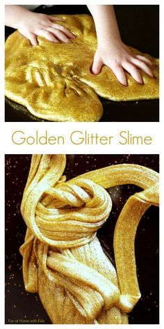 Golden Glitter Slime from Fun at Home with Kids And troubleshooting advice from slime gone wrong, here: http://www.funathomewithkids.com/2014/06/how-to-fix-slime-that-didnt-work-out.html