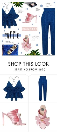 """""""ADD SOME FLAIR: RUFFLED TOP"""" by larissa-takahassi ❤ liked on Polyvore featuring Rasario, FAUSTO PUGLISI, GEDEBE, FaustoPuglisi, lurex, gedebe and ruffledtops"""