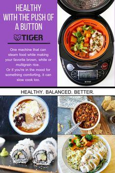 Tiger JAX-T10U-K 5.5-Cup Micom Rice Cooker with Food Steamer Slow Cook S//S Black