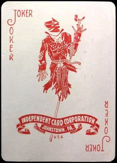 1925 red Joker Playing Card, Joker Card, Playing Cards, Divination Cards, Logan Wolverine, Poker Face, House Of Cards, Jokers, Clowns