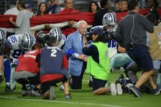 Dallas Cowboys owner Jerry Jones and his team kneeled prior to the national anthem Monday night as a sign of solidarity with the rest of the NFL, capping off a weekend defined by symbolic protests against President Trump. The primetime Monday Night Football matchup between the Cowboys and... - #Cowboys, #Jerry, #Jones, #Kneels, #Na, #News, #Owner, #Players