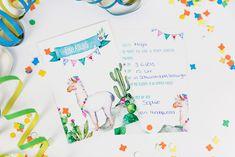 Niedliche Einladungskarten für Kindergeburtstage zum selber ausfüllen. Lama, Lamaliebe der neue Trend in den Kinderzimmern. Dekoration - Einladungskarte für Kinder - 6er Sets _Lama - ein Designerstück von Anna-Weinhold bei DaWanda