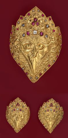 Indonesia ~ Bali   Pair of arm ornaments; gold, rubies and diamonds   Late 19th century    {GPA}
