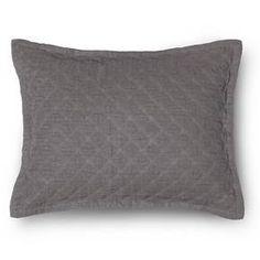 Linen Quilted Sham - Standard - Dark Grey - The Industrial Shop™ : Target $18.79