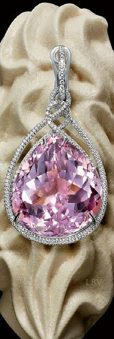 Graff ~ Pink Sapphire Teardrop Pendant set in White Diamonds