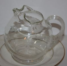 Vintage Etched Glass Round Pitcher with Handle Dainty Flowers