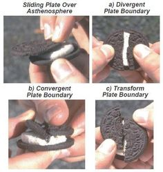 This is an awesome edible science lab that demonstrates plate boundaries by using an Oreo as one of the Earth's plates. I would like to use this as an introductory lesson when teaching plate boundaries and plate tectonics. Science Resources, Science Lessons, Science Education, Teaching Science, Science Activities, Science Experiments, Science Ideas, Science Projects, Teaching Tools