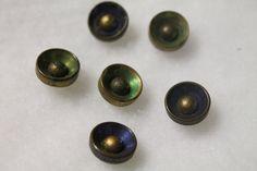 "Vintage Brass Buttons, metal shank backs, 1/2"", pack of 6"