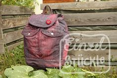 Jeansrecycling, Rucksack aus 2 alten Jeans, rot eingefärbt Longchamp, Fashion Backpack, Backpacks, Bags, Old Jeans, Red, Pictures, Handbags, Taschen