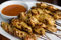 Chicken Satay. Who doesn't love meat on a stick?