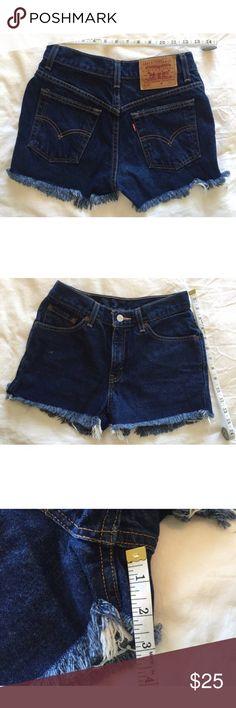 89b10bc1 Vintage Levi's 517 Cut Off Shorts High Waist Levi's 517 Cut Off Shorts Dark  Blue Denim High Waist Size 5 Junior Waist Length inseam See Photos for ...
