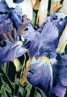Tempra Resist / Indian Ink Washoff.  Iris by Helen Parkinson.