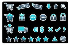 This free set of ecommerce icons comes in blue, orange, and green, so you can choose the version which works best with your website's branding.