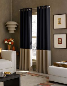 Cortinas de dos colores Curtainworks Kendall Color Block Grommet Curtain Panel, by Chocolate Lined Curtains, Grommet Curtains, Window Curtains, Curtains Living, Color Block Curtains, Blue Drapes, Kitchen Curtains, Shower Curtains, Wall Colors