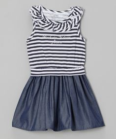 Take a look at the Navy & White Stripe Ruffle Denim Dress - Infant, Toddler & Girls on #zulily today!