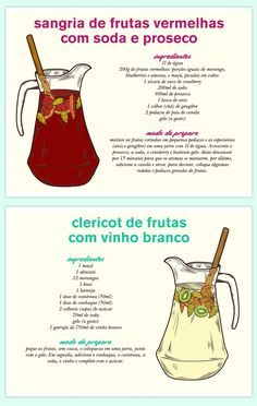 drink express – receita de sangria e clericot Bar Drinks, Alcoholic Drinks, Beverages, Cocktails, Blueberries, Cocktail Shots, Welcome Drink, Brunch Wedding, Portuguese Recipes