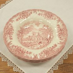 Set of 2 4 or 6 Rim Soup by Churchill ~ Made in England ~ The Brook Pink ~ Red/Rosa Transferware Replacement China by FeeneyFinds on Etsy  sc 1 st  Pinterest & Set of 2 Fair Winds Dinner Plates ~ Alfred Meakin ~ Staffordshire ...