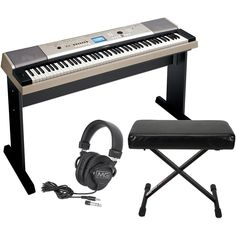 d7e1dcca06d Yamaha YPG-535 88-Key Portable Grand Piano Keyboard with Bench and Hea  Circumaural