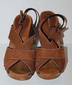 Donald J Pliner Wedge Sandals 8.5 Wood Strappy Chunky Brown Suede Open Toe #DonaldJPliner #PlatformsWedges #Party
