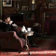 Sherlock drinking tea