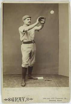 "strange funny vintage baseball photos from the 1800s (12)  Possible baseball card idea? We could put the Whaley House logo where the ""Gray"" logo is along with player name and position. On the back we could add historical information about the game."