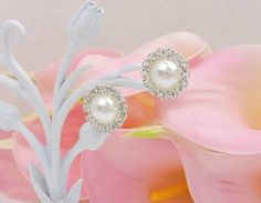 Buy Now Pearl And Rhinestone Stud Earrings Pearl And Rhinestone...