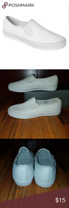 Slip on sneakers Gap white leather slip on sneakers has never been worn was bought off the mannequin so has worn look GAP Shoes Sneakers