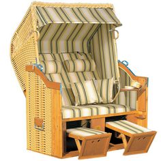 The Genuine Baltic Coast Strandkorb - Hammacher Schlemmer. I saw these on the Baltic in Germany and thought that they were so smart. Lawn Chairs, Outdoor Chairs, Adirondack Chairs, Outdoor Patios, Room Chairs, Interior Exterior, Interior Design, Haus Am See, Outdoor Fun