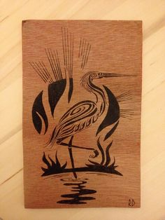 Pyrography art. Black heron tribal tattoo. Based on: https://www.pinterest.com/pin/388083692866981760/