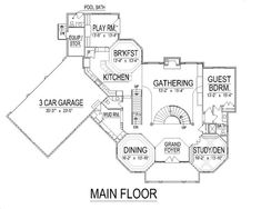 European Style House Plan - 5 Beds 6 Baths 7142 Sq/Ft Plan #458-9 Floor Plan - Main Floor Plan - Houseplans.com