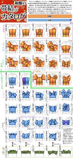 Types of Obi knots for a kimono - traditional Japanese clothing. All notes are in Japanese! And i can't read a fuck T_T Traditional Kimono, Traditional Dresses, Traditional Japanese, Japanese Culture, Japanese Art, Japanese Geisha, Ninetales Pokemon, Moda China, Furisode Kimono