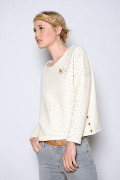 Sweat Houpette ecru pois - T-shirts m. longues et sweats - categories - e-shop