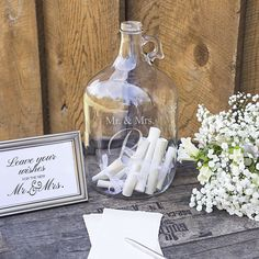 Wedding Wishes in a Bottle Guest Book is great for the creative bride and groom. Acting as a guest book, the gallon growler can be left out for guests to sign an original note of congratulations and best wishes. This alternative guest book Wedding Tips, Diy Wedding, Dream Wedding, Wedding Day, Wedding Venues, Wedding Bouquet, Wedding Bells, Beach Wedding Signs, Spring Wedding