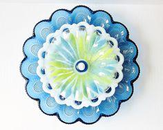 Blue Glass Egg Plate Garden Art Yard Decor Vintage JEMMA ……………………………………………… By jarmfarm (etsy.com #132238040)