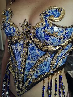 Blue Corset, Best Costume Design, Looks Cool, Cool Costumes, Aesthetic Clothes, Pretty Outfits, Baroque, Ideias Fashion, High Fashion