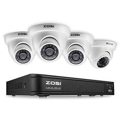 Video Security 4 Cameras System 8 Channel Surveillance DVR Recorder Night Vision #VideoSecurityCameras