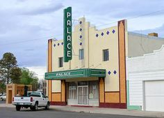Palace Theatre, Marfa, Texas - I like this color green
