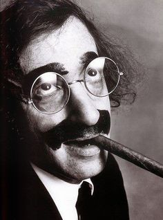 Woody Allen as Groucho Marx photographed by Irving Penn (American, 1917-2009). #funnyface #comedian