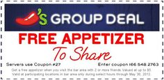 Free appetizer to share with friends when you visit the bar at Chili's! #coupon