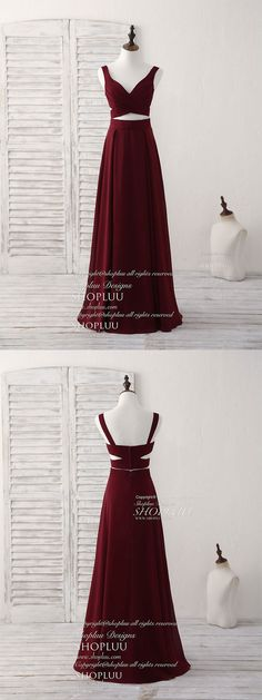 Burgundy two pieces chiffon long prom dress, evening dress, burgundy bridesmaid dress