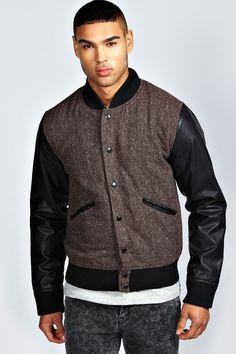 Boohoo Tweed Leather Look Bomber Jacket on shopstyle.co.uk