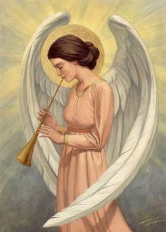card of angel playing trumpet Christian Warrior, Christian Art, Religious Paintings, Religious Art, Greek Mythology Art, Angels Beauty, Angel Pictures, Angels Among Us, Angels In Heaven