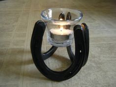 Horseshoe Candle Holder great for tealight or votive by ironoflife