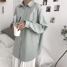 Tops – Page 22 – Tomscloth Dress Shirts For Women, Blouses For Women, Clothes Women, Cheap Blouses, Shirt Blouses, Simple Shirts, Oversized Shirt, Korean Outfits, Minimal Fashion