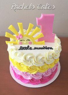 New Baby First Birthday Cake Girl Cupcake Ideas - franziska Birthday Cakes Girls Kids, Baby First Birthday Cake, First Birthday Themes, Birthday Fun, First Birthdays, Birthday Ideas, Sunshine Birthday Cakes, Sunshine Cake, Sunshine Cupcakes