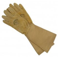 HERBOLOGY: Women's Leather and Canvas Gauntlet Glove - Made in USA for $42.00
