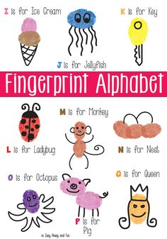 Fingerprint Art: Ed Emberly books - (Alphabet Letters I through Q) Learning Letters, Preschool Learning, Early Learning, Preschool Activities, Kids Learning, Teaching, Alphabet Crafts, Alphabet Art, Letter A Crafts