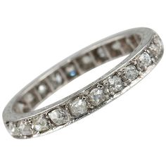 Old Mine Cut Diamond Eternity Band | From a unique collection of vintage band rings at https://www.1stdibs.com/jewelry/rings/band-rings/