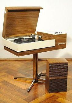 70s VTG WOOD TELEFUNKEN RONDO STEREO 101 RECORD PLAYER TURNTABLE BRAUN DESIGN